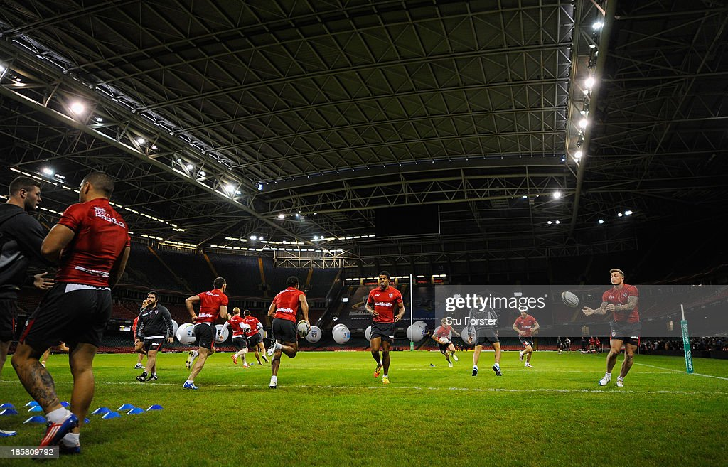 The England team warm up during the England captains run ahead of tomorrows opening match of the 2013 Rugby League World Cup against Australia at Millennium Stadium on October 25, 2013 in Cardiff, Wales.