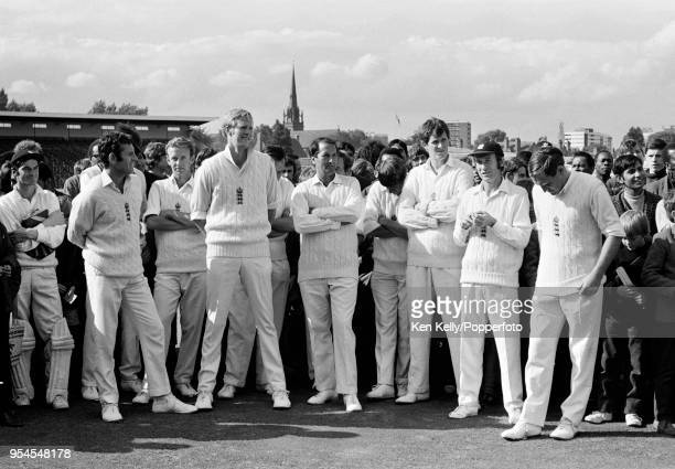 The England team watching the presentation ceremony after the 3rd match of the fivematch series between England and a Rest of the World XI at...