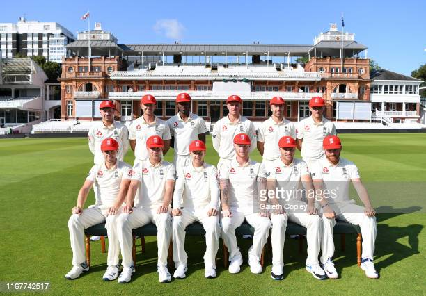 The England team wear red caps in support of the Ruth Strauss Foundation at Lord's Cricket Ground on August 13 2019 in London England