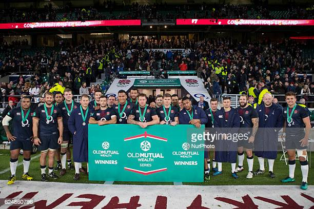 The England team with their medals after the Old Mutual Wealth Series between England and Fiji played at Twickenham Stadium London November 19th 2016