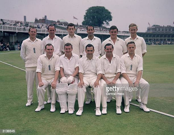 The England Test team at Trent Bridge including Geoffrey Boycott Jon Snow and next to him Basil D'Oliviera and Colin Milburne Also present are Ray...