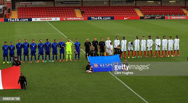 The England U18 and Italy U18 teams line up prior to kick off during the international friendly match between England U18 and Italy U18 at Highbury...