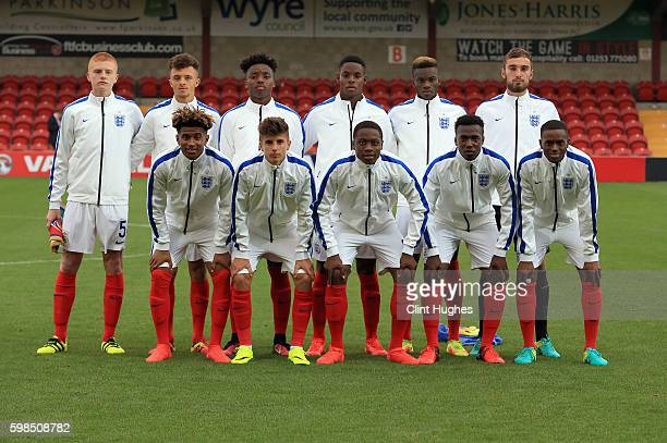 The England U18 team pose for a photo during the international friendly match between England U18 and Italy U18 at Highbury Stadium on September 1...