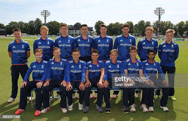 The England U19 team pictured before the start of the Royal London OneDay Series match between England U19 v Sri Lanka U19 on August 16 2016 in...