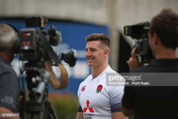 The England U20 rugby captain Ben Curry talks to the media during the World Rugby U20 Championship Final Captain's photo call at the Stade De La...