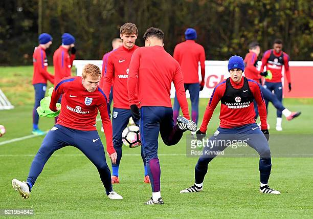 The England U21 squad during a England U21 training session at St Georges Park on November 9 2016 in BurtonuponTrent England
