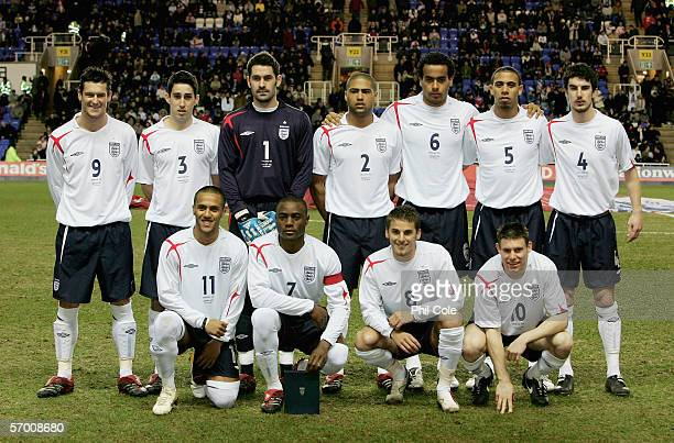 The England U21 Team Group before a friendly match between England U21s and Norways U21s at the Madejski Stadium on February 28 2006 in Reading...