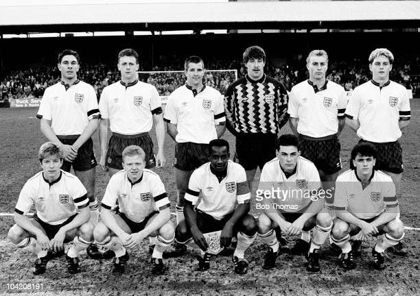 The England Under21 team before their UEFA Under21 Championship match against Albania Under21's at Portman Road Ipswich on 25th April 1989 England...