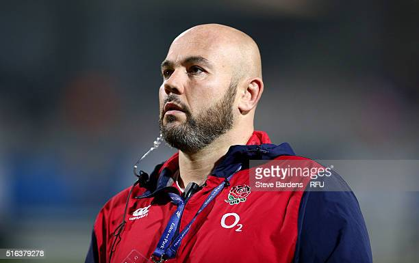 The England women Assistant Coach Matt Ferguson looks on prior to the Womens Six Nations match between France women and England women at Stade de la...