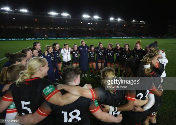 The England Women form a huddle after their victory over Canada women after the Old Mutual Wealth Series match between England Women and Canada Women...