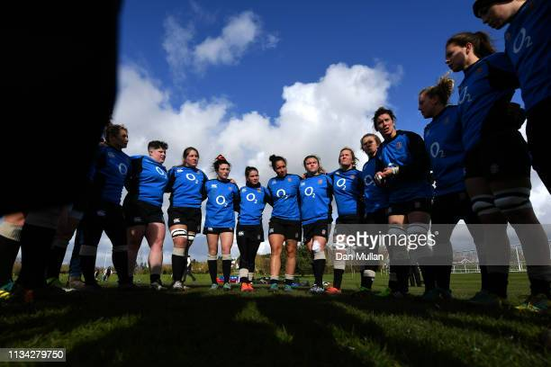 The England Women huddle during an England Women's training session at Exeter University on March 07 2019 in Exeter England