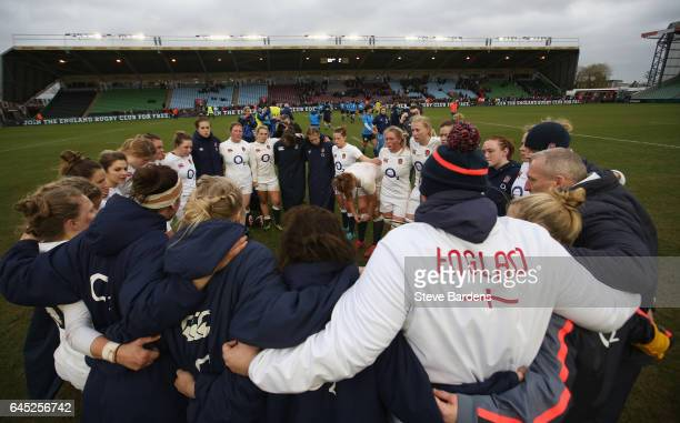 The England Women players and back room staff form a huddle after victory in the Womens Six Nations match between England Women and Italy Women at...