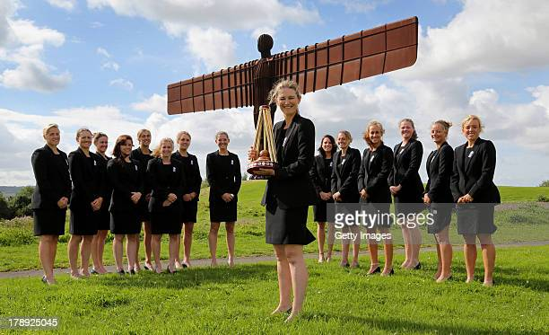 The England Women squad celebrate their Women's Ashes win during a photo opportunity at The Anthony Gormley 'Angel of the North' sculpture on August...