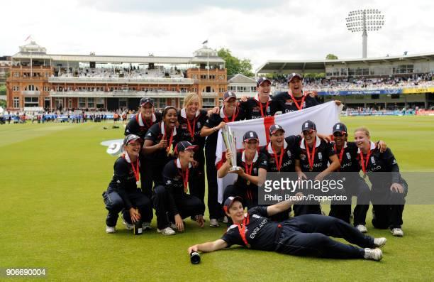 The England Women team celebrate during a lap of honour after winning the ICC Women's World Twenty20 Final between England Women and New Zealand...