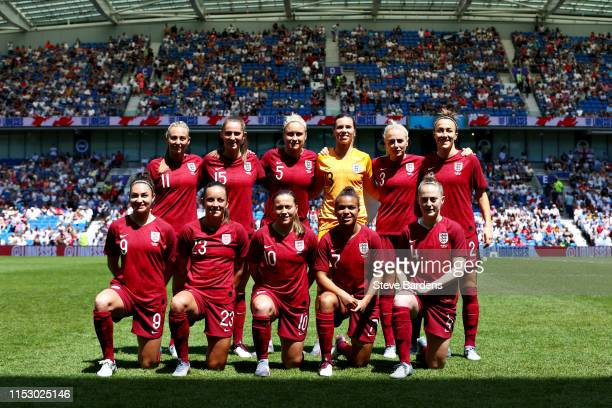 The England Women team line up before the International Friendly between England Women and New Zealand Women at Amex Stadium on June 01 2019 in...
