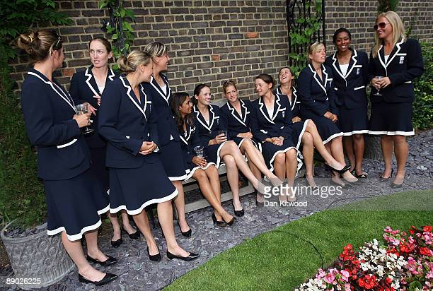 The England Women's Cricket Team wait to meet Prime Minister Gordon Brown at Downing Street on July 14 2009 in London England England retained the...