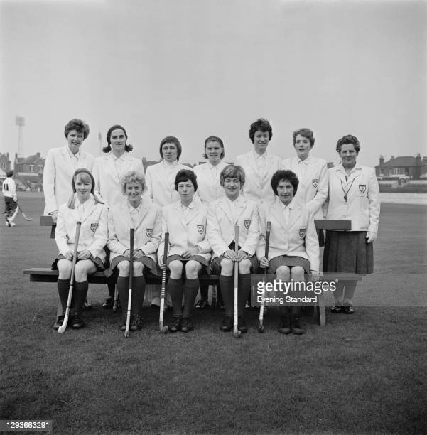 The England women's hockey team during a match against West Germany at Wembley in London, UK, 12th March 1966.