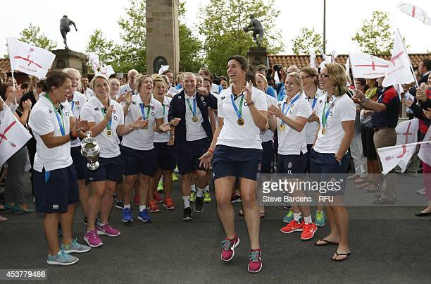 The England Women's IRB Rugby World Cup winning team arrive at Twickenham Stadium on August 18 2014 in London England