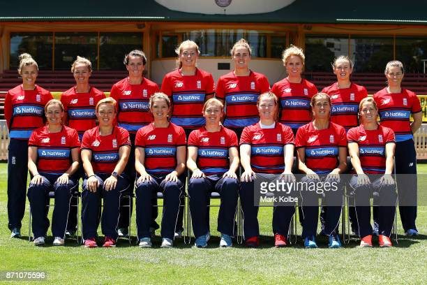 The England women's T20 team pose for a team photo before an England women's Ashes series training session at North Sydney Oval on November 7 2017 in...