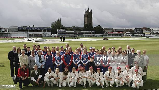 The England Women's team and officals from the ECB and Somerset CCC pose for a group photo at the launch of Taunton as the home of women's cricket...