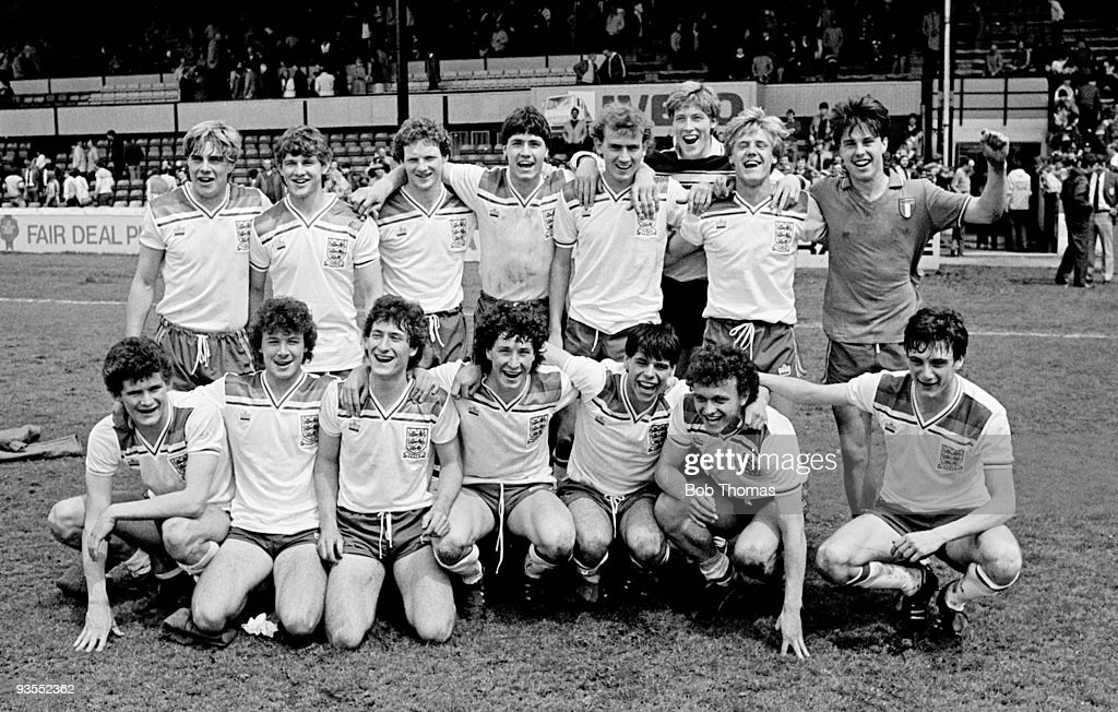 The England Youth team which beat Italy 4-2 on penalties after a 1-1 draw in the third place play-off of the European Youth Championship held at Vicarage Road, Watford, England on 22nd May 1983. Back row, left to right: Barry Venison (captain), John Morrisey, Tony Simmons, Paul Rideout, Simon Mills, Ian Andrews, Barry Little, David Clarke. Front row, left to right: Lee Sinnott, Paul Atkinson, David Kerslake, Tony Spearing, Ian Painter, David Norton and Glen Humphries. (Photo by Bob Thomas/Getty Images).