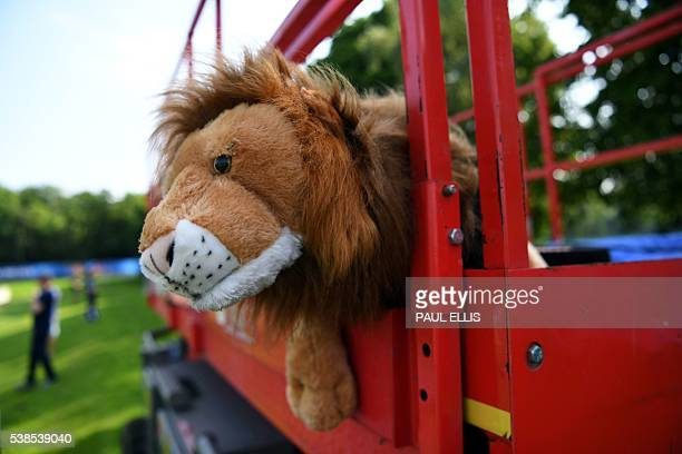 The England's mascot watches over a training session at their training ground in Chantilly on June 7 2016 during the Euro 2016 football tournament /...