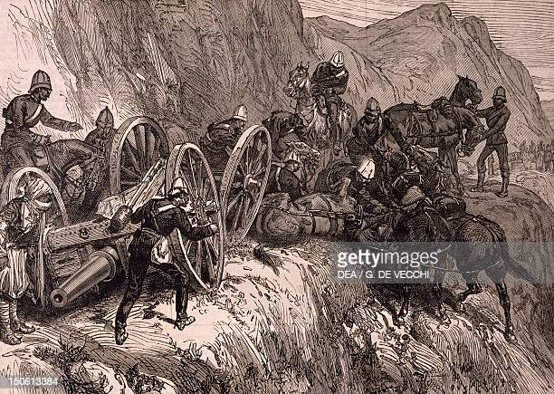 The English artillery during a difficult crossing in the mountains between Kabul and Kandahar engraving Second AngloAfghan War Afghanistan 19th...