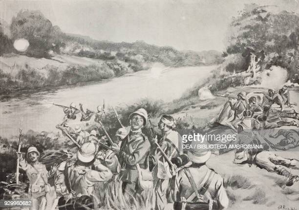 The English attempting to cross the Tughela river December 15 Transvaal South Africa Second Boer War drawing by Antonio Rizzi from L'Illustrazione...