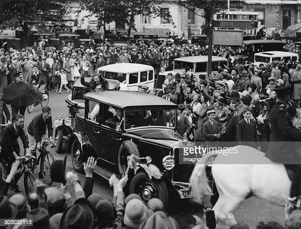 The English aviatrix Amy Johnson is welcome in London 6th August 1930 Photograph
