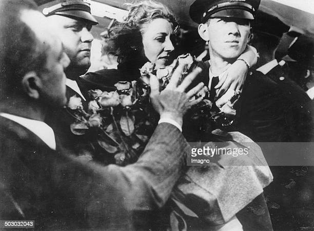 The English aviatrix Amy Johnson upon their arrival in New York after her crash in Bridgeport 1st August 1933 Photograph