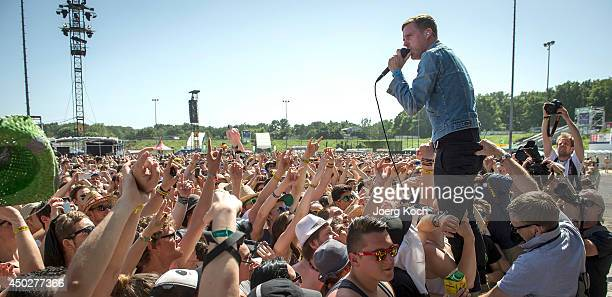 The English band 'Kaiser Chiefs' with singer Ricky Wilson performs on Centerstage during the third day of 'Rock im Park' at Zeppelinfeld on June 8...