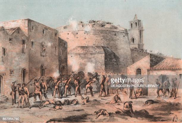 The English battalion at the foot of the Round Tower of the citadel of Milazzo Sicily Expedition of the Thousand lithograph by Carlo Perrin from the...