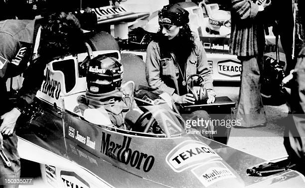 The English car driver James Hunt on the circuit of 'Jarama', 15th May 1972, Madrid, Spain.