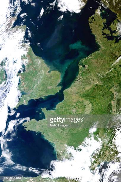 The English Channel separating the United Kingdom and Europe
