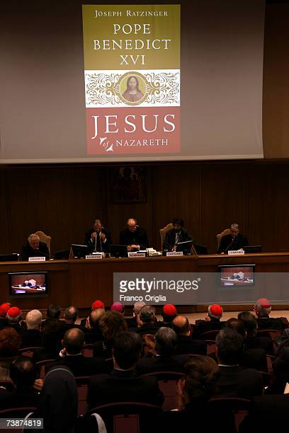 The English cover of Pope Benedict XVI's latest book 'Jesus of Nazareth' during the media conference at the Sinodo Hall on April 13 in Vatican City...