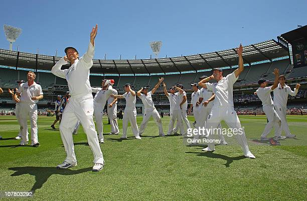The English cricket team perform the sprinkler after winning the fourth test on day four of the Fourth Test match between Australia and England at...