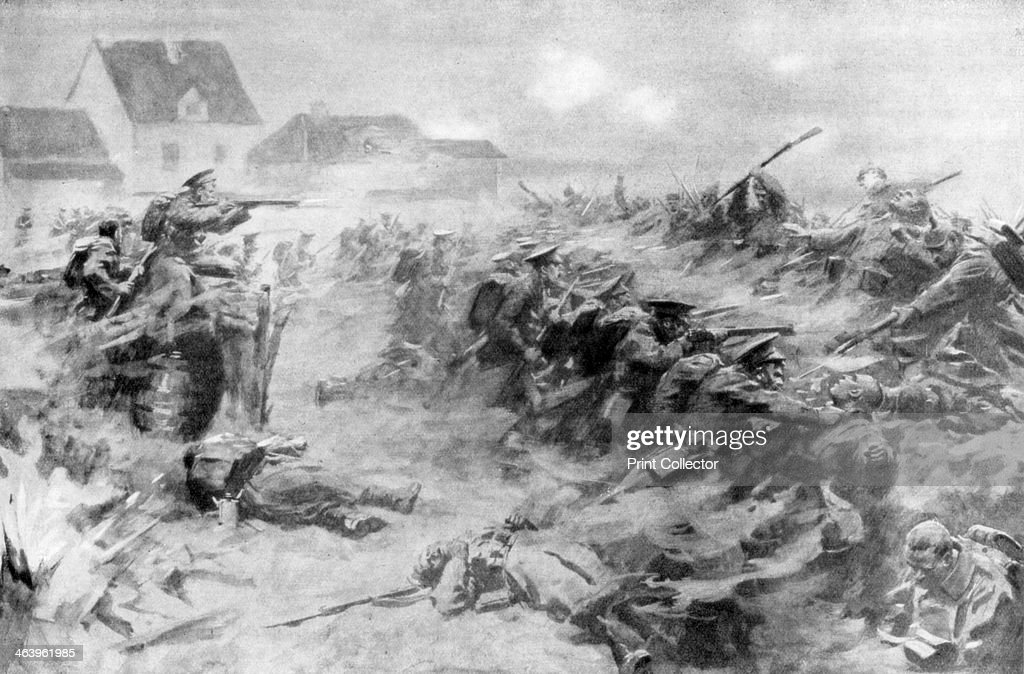 The English drive back the Germans at the Ypres front, Belgium, 11 November 1914, (1926). : News Photo