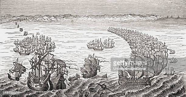 The English Fleet commanded by Sir Francis Drake attacking the Spanish Armada 1588 From Old England's Worthies by Lord Brougham and others published...