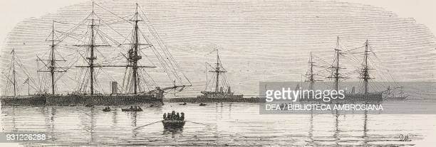 The English naval squadron in front of Naples Italy drawing by Francesco Paolo Michetti engraving from L'Illustrazione Italiana Year 3 No 2 November...