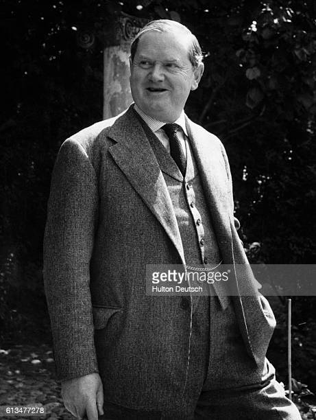 The English novelist Evelyn Waugh at Piers Court his Gloucestershire home prior to the publication of his novel Officers and Gentlemen 1955