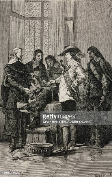 The English physician William Harvey demonstrating circulation of blood in a live deer to Charles I and Royal College of London physicians...