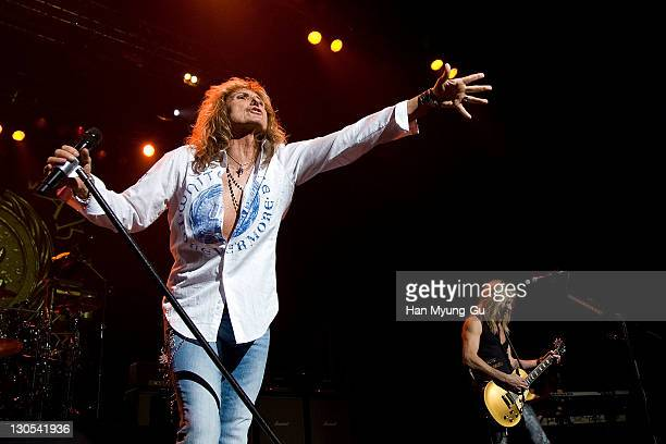 The english rock icon David Coverdale performs live on stage during a Whitesnake concert at AXKorea on October 26 2011 in Seoul South Korea