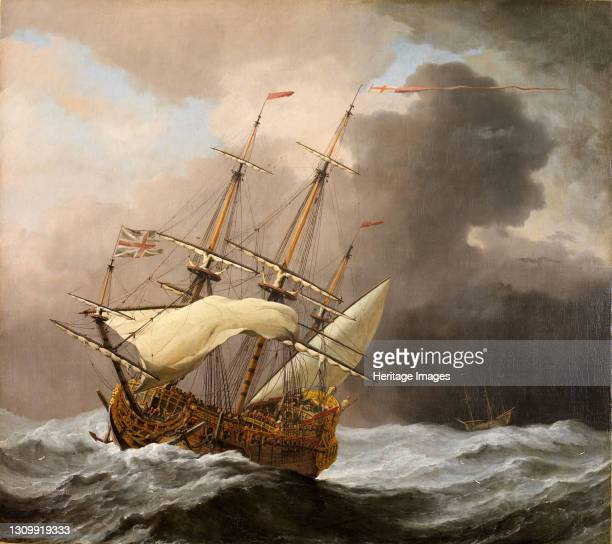 The English Ship Hampton Court in a Gale, 1678-80. Willem Van de Velde the Younger was a the Dutch marine painter. He emigrated to England with his...
