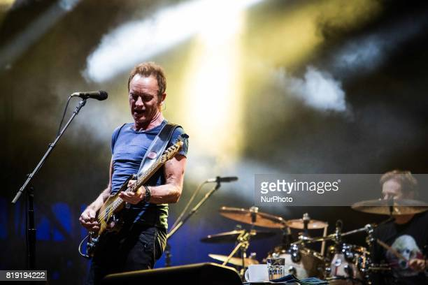 The english singer and songwriter Sting pictured on stage as he performs at MoonampStars 2017 in Locarno Switzerland on 19 July 2017