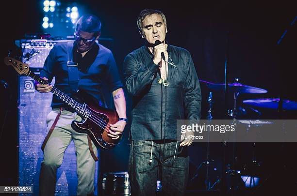 The english singer Morrissey performs at the Theater Augusteo in Naples on October 7 2015