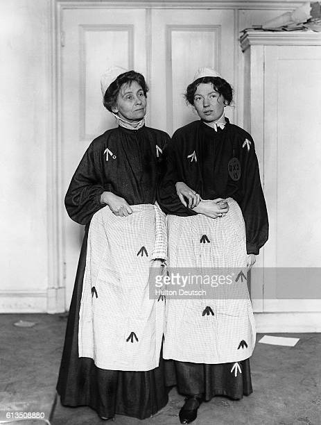 The English suffragettes Emmeline Pankhurst and her daughter Christabel whilst in prison for their militant campaigning 1908