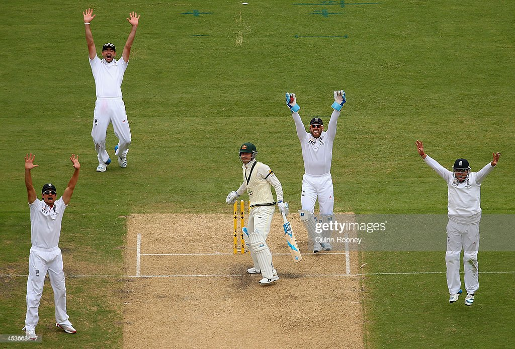The English team appeal for the wicket of Michael Clarke of Australia during day one of the Second Ashes Test Match between Australia and England at Adelaide Oval on December 5, 2013 in Adelaide, Australia.
