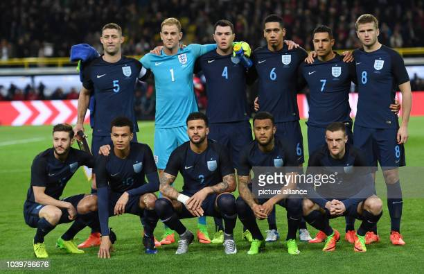 The English team before the international friendly soccer match between Germany and England in the Signal Iduna Park in Dortmund Germany 22 March...