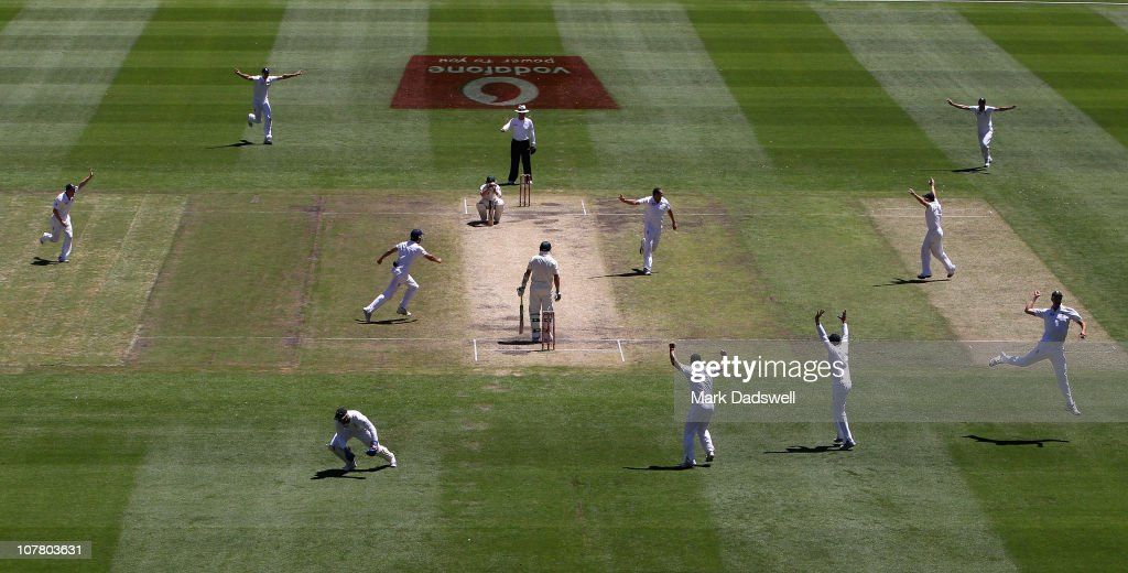 The English team celebrate the fall of the final wicket on day four of the Fourth Test match between Australia and England at the Melbourne Cricket Ground on December 29, 2010 in Melbourne, Australia.