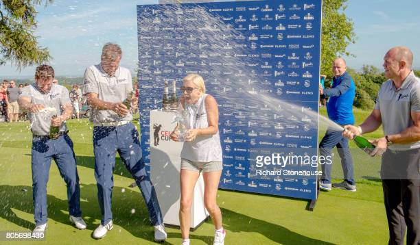 The English Team Kelvin Fletcher Peter Jones Denise Van Outen and Mike Tindall celebrate their win with Denise Van Outen getting showered with...